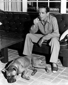 Humphrey Bogart & his boxer in espadrilles