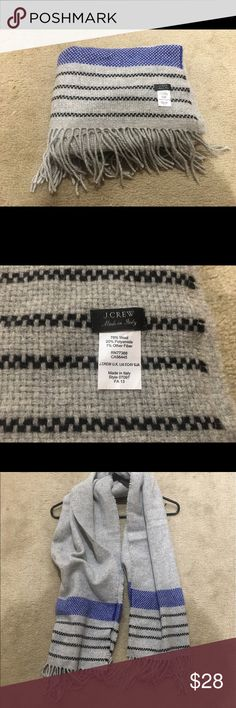 NWOT J. Crew Checker-Stripe Scarf NWOT wool checkered scarf, oversized J. Crew Accessories Scarves & Wraps