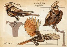 Concept sketches for Vellowday's project Clouds of Avia made last summer. Clouds of Avia - Songbirds Robot Concept Art, Creature Concept Art, Creature Design, Fantasy Races, Fantasy Rpg, Fantasy World, Fantasy Character Design, Character Art, Animal Robot