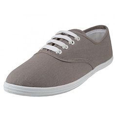 fa0eb54488f0f Easy USA - Womens Canvas Lace Up Shoe with Padded Insole Grey Size 11