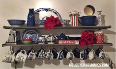 Christmas Home Tour - Kitchen Shelf - Blue Willow Christmas Style