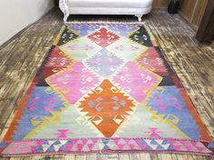Items similar to Anatolia Turkish Antalya (Barak) Kilim x Area Rug Carpet Wool on Etsy Turkish Kilim Rugs, Antalya, Diamond Pattern, Rugs On Carpet, Bohemian Rug, Area Rugs, Weaving, Traditional, Wool