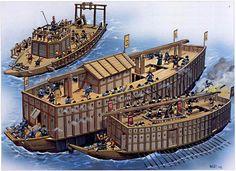 Lucha entre barcos tipo ōatakebune y sekibune, más pequeños. Fuente: TURNBULL, Stephen; REYNOLDS, Wayne, Fighting Ships of the Far East (2) - Japan and Korea AD 612-1639. Oxford, Osprey Publishing, 2003, p. 27.