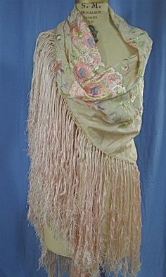 HB-vintage Edwardian 20s silk embroidered pink ART DECO fringe piano shawl scarf