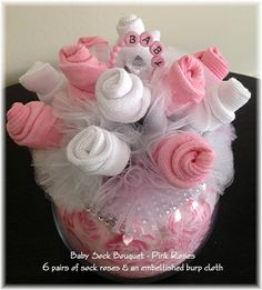 Baby Sock Bouquet Pink Roses Baby Girl Baby by JustBabyBoutique