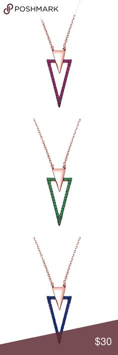 """Sterling Silver Fashion CZ Rose Gold Necklace AVAILABLE NI EMERALD, RUBY AND SAPPHIRE CZ STONES. 17"""" rose gold plated chain plus 1 inch extension. BRAND NEW! 💗 GREE GIFTBOX INCLUDED. Jewelry Necklaces"""