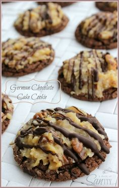 German Chocolate Cake Cookies. Simple soft cookie topped with a caramel/praline coconut Pecan topping.The topping does partially harden.