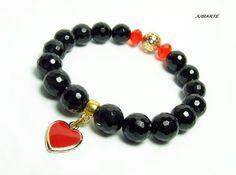 ONYX & RED HEART Gemstone Bracelet Black bracelet by JUBIARTE