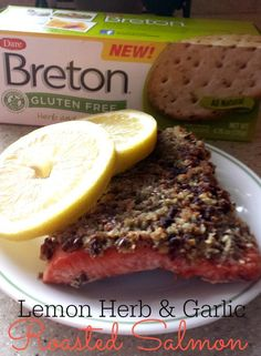 Roasted Salmon with {Gluten Free} Lemon Herb & Garlic Crust - Sublime Reflection Healthy Cookie Recipes, Peanut Butter Recipes, Healthy Cookies, Healthy Baking, Snack Recipes, Dinner Recipes, Seafood Recipes, My Recipes, Favorite Recipes