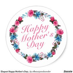 Simple Valentine& Day Floral Wreath Sticker - elegant gifts gift ideas custom presents Gifts Love, Simple Gifts, Happy Mothers Day Pictures, Mothers Day Cakes Designs, Cover Wallpaper, Floral Wreath Watercolor, Diy, Craft, Happy Valentines Day