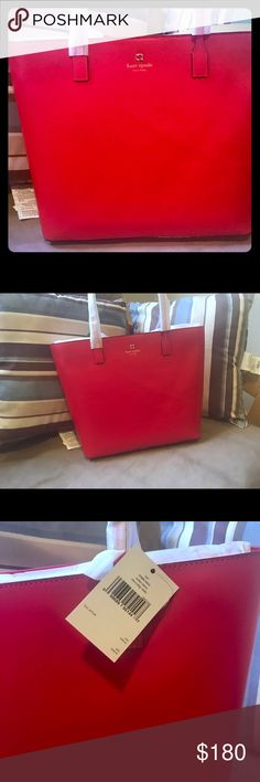 "👻SALE!!! New Authentic Kate Spade! Absolutely stunning Kate Spade in apple red color. Authentic. New W/ tags. Very classy and sophisticated look for everyday occasions.   11.5"" (h) x 12.2"" (w) x 4.1"" (d) kate spade Bags Shoulder Bags"