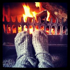 snuggly socks and the fireplace = relaxing Mom