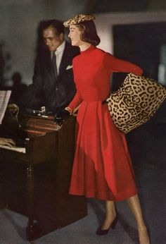 1950s Red and Leopard #vintage #fashion. Animal prints never go out of style.