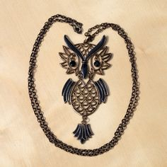 Vintage metal alloy necklace  owl by UKAmobile on Etsy