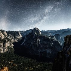 glacier point. milky way. yosemite. california. by Tanner Wendell Stewart