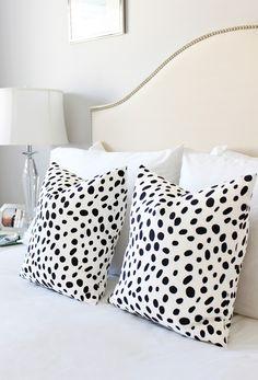 Black white spot pillow, Dalmatian Spot pillow, upholstered bed #ElemenOPillows #AM Dolce Vita