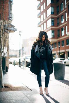 Black & Grey Ombre Sweater Coat: BB Dakota Guns N Roses T: AE Heels: Steve Madden Dark Jean: AE Lipstick: Nars Velvet Matte Lip Pencil in Red Square #Americaneagle #nars #stevemadden #bbdakota #thecollabblog #thecollaborationblog