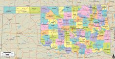 Map of State of Oklahoma, with outline of the state cities, towns and counties. State roads connections shown.