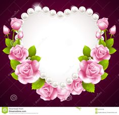 Hqert Pink Rose And Pearls Frame Royalty Free Stock Image