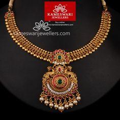 Buy Necklaces Online | Kundan Highness Antique necklace from Kameswari Jewellers Gold Earrings Designs, Gold Jewellery Design, Diamond Jewellery, Bridal Jewellery, Antique Necklace, Gold Necklace, Dimond Necklace, Short Necklace, Antique Jewelry