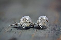 Sterling dandelion seeds stud earrings - 925 sterling silver earstuds with glass orbs filled with real dandelions