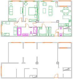 Alaprajz - Üde, természetes, otthonos és modern - család négyszobás lakása bézs alappal, színekkel, szép burkolatokkal