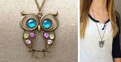 Vintage Jeweled Owl Necklace