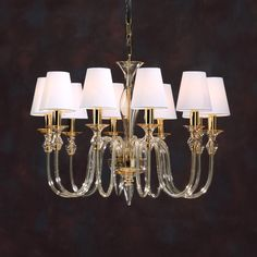 Ten-light amber hand-blown Venetian glass chandelier with round hardback fabric shades, UL approved; Made in Murano, Italy. Simple Chandelier, Glass Chandelier, Chandelier Lighting, Pendant Lamp, Chandeliers, Dining Room Light Fixtures, Ceiling Fixtures, Ceiling Lamp, Ceiling Lights