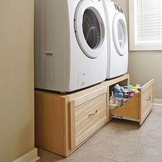 Stack-on Washer/dryer stand woodworking plan. Few rooms in the house get as messy as the laundry room. To help cut the clutter without taking up valuable floor space, and to raise your front-load machines to a more accessible height, build this washer/dryer stand. The two large slide-out drawers afford plenty of space for laundry baskets, detergent, and dryer sheets.
