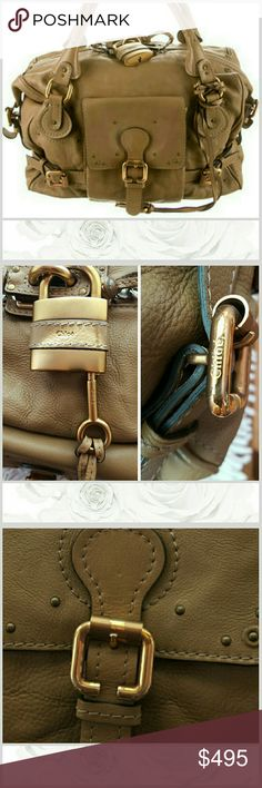 """Chloe Large Paddington Shoulder Bag tawny colored leather with rodr gold-toned hardware. dual rolked shoulder straps, patch pocket at front, lock & key included, beige canvas lining in excellent condition, zip closure at interior pocket, zip closure at top. Moderate wear on corners, and hardware.  shoulder strap drop 8 1/2"""", height 10"""", width 15"""", depth 7""""  style # 02-06-53. Chloe Bags Shoulder Bags"""