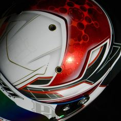 Hunter Pickett's new flaked out Arai turned out stellar. Really happy with this one. @hunterpickett6 @painthuffermetalflake #polendesigns #custompaint @houseofkolor_