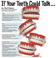 If only your teeth could talk, they could reveal many health issues that we see in a regular dental appointment when we examine your mouth and teeth. Do you see your dentist regularly? Dental Hygiene, Dental Care, Dental Assistant, Oral Health, Dental Health, Dentistry Education, Dental World, Dental Facts, Oral Surgery