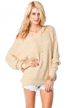 Shoulder Slash Sweater in Taupe