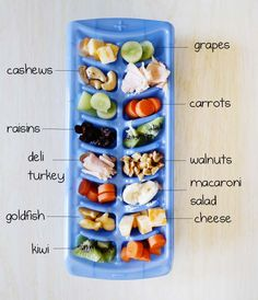 Love this idea Toddler snack buffet, using an ice cube tray. by Lanie - Baby Food Recipes, Snack Recipes, Toddler Lunches, Toddler Food, Picky Toddler Meals, Picky Eater Meals, Foods For Picky Toddlers, Toddler Dinners, Picky Eaters Kids