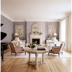 Seabrook Wallpaper CB91209 - Carl Robinson 9-Romantique - Tasseled Swag shown in Living Room