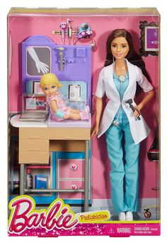 Play out a variety of health care careers with Barbie doll play sets because she knows you can be anything! These Barbie dolls are ready to see patients with furniture for a stylish office, accessorie