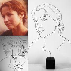 portrait en fil de fer, wire, femme