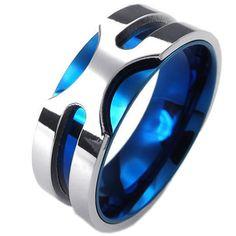 Amazon.co.jp|KONOV ジュエリー ファッション アクセサリー メンズ リング 指輪, クラシック, ステンレス, カラー:青; シルバー(銀);[ギフトバッグを提供] - [19号]|ジュエリーストア オンライン通販