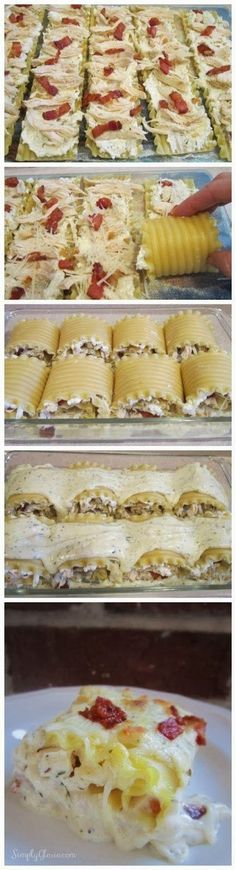 Chicken Bacon Lasagna Roll Ups. Each pasta is filled with cheeses, shredded chicken, bacon, sauteed with onion and garlic; and finally, topped with Alfredo cream sauce! I Love Food, Good Food, Yummy Food, Healthy Food, Bacon Lasagna, Lasagna Rolls, Chicken Lasagna, Lasagna Noodles, Lasagna Recipes