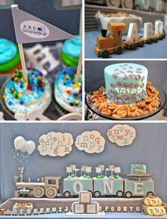 Boy Birthday Party Ideas - Alphabet Train Theme First Birthday www.spaceshipsandlaserbeams.com