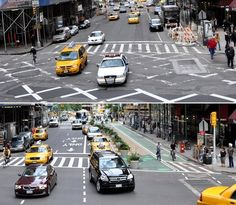 Planters and paint make Broadway, NYC into a pedestrian and cycle-friendly 'complete street.' Click image to tweet and visit the slowottawa.ca boards >> http://www.pinterest.com/slowottawa/