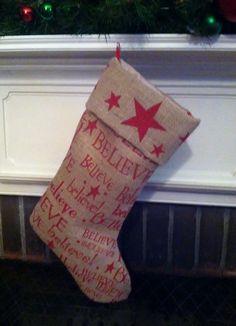 Rustic Believe Burlap Christmas Stocking