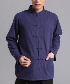 Casual mens kung fu cotton chinese #style long sleeve tai chi tops #jacket…