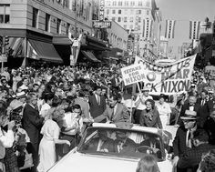 Vice President and Mrs. Richard M. Nixon are shown as they paraded through downtown Dallas, Sept. 12, 1960, en route to Memorial Auditorium where Nixon spoke to an estimated 11,000 persons.