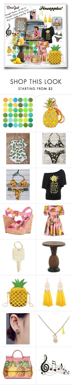 """Pineapple Princess"" by caroline-buster-brown ❤ liked on Polyvore featuring Garima Dhawan, Dolce&Gabbana, The Giving Keys, Tommy Bahama and Benzara"