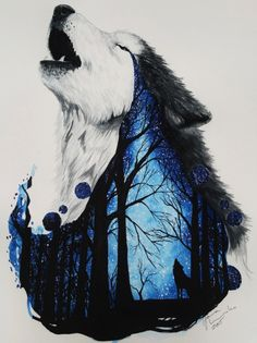 wolf with a starry night in the forest