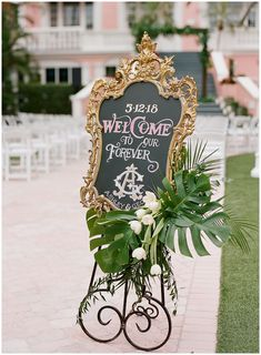 Black Gold Wedding The Chalk Shop Orlando Welcome Sign for Don CeSar Wedding in the courtyard Hawaii Wedding, Red Wedding, Perfect Wedding, Wedding Flowers, Wedding Day, Destination Wedding, Wedding Signage, Wedding Ceremony, Reception