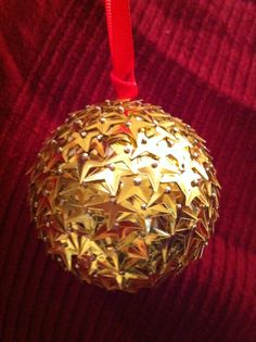 Handmade Bauble - sequins pinned to a polystyrene ball
