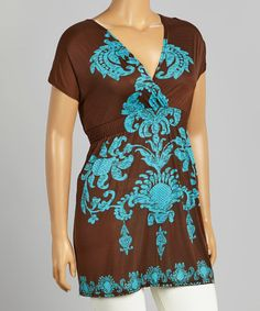 Another great find on #zulily! Brown & Turquoise Floral Surplice Tunic - Plus #zulilyfinds