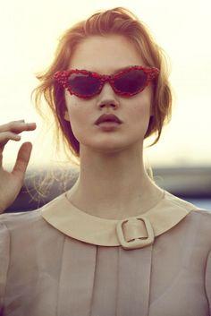 red cat eye shades